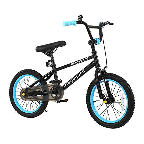 MuGuang - Bicicletta per bambini e bambine, 16 pollici, BMX Freestyle, per bambini, test senza rischi, 100 – 120 cm, 2 pezzi, rotore a 360° (azzurro)