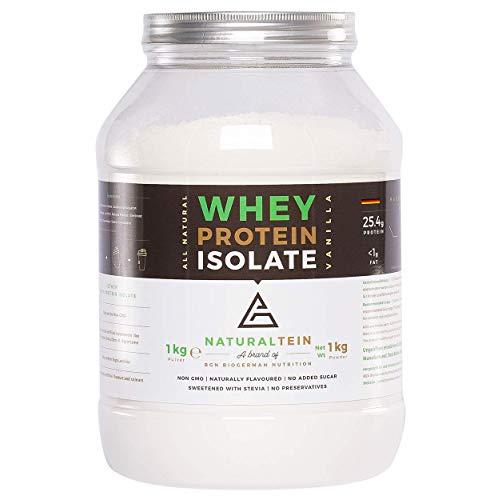 Naturaltein Whey Protein Isolate Eiweißpulver Muskelaufbau I Premium Natural Protein Powder Ohne Zusatzstoffe I hochwertiges Whey Isolate ohne Gentechnik I natürlicher Geschmack I Vanille 1000g