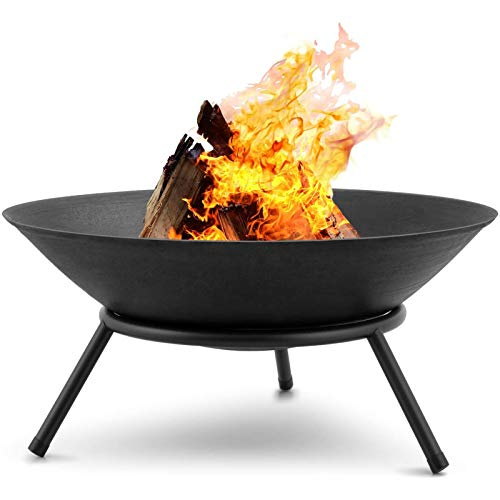 AJDGNL Fire Pit Outdoor Wood Burning 22.6In Cast Iron Firebowl Fireplace Heater Log Charcoal Burner Extra Deep Large Round Camping outside Patio Backyard Deck Heavy Duty Metal Grate Black