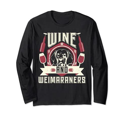 El vino y los Weimaraners Conocedores del vino Amantes de lo Manga Larga