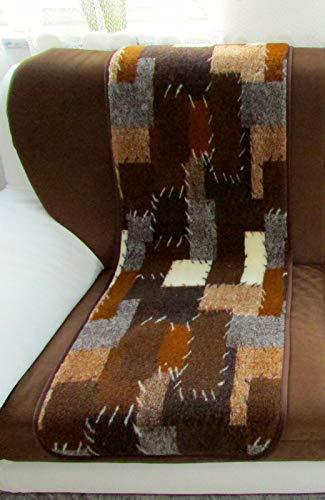 Alpenwolle Sesselschoner Couchschoner Überwurf 1 Stück Patchwork 60x200 cm 100% Wolle