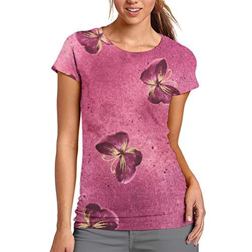 Damen-T-Shirt mit rosafarbenem Schmetterlingsmotiv, kurzärmelig, Rundhalsausschnitt, Bluse, bequem, Polyester, weiß, xl