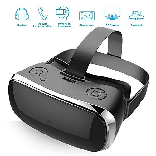 HUA JIE 3D VR Headset Virtual Reality Glasses, VR Headset, All-in-one Machine, Soft, Adjustable Nearsightedness, with Big Clear 3D Optical Lens for All 3-5.5 Inch Smartphones,Black