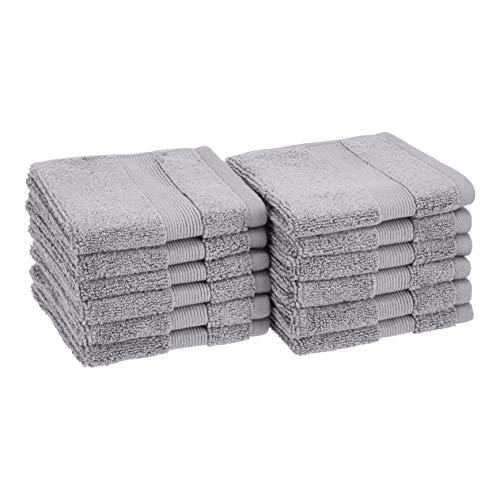 Amazon Basics Dual Performance Washcloths  12Pack Silver Sheen