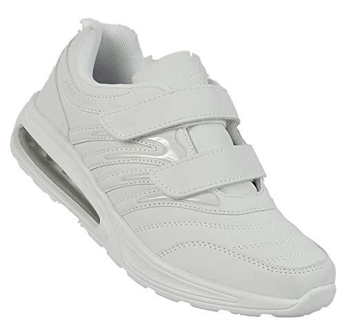 Bootsland Unisex Klett Sportschuhe Sneaker Turnschuhe Freizeitschuhe 001, Schuhgröße:44, Farbe:Weiß
