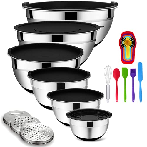 Mixing Bowls with Airtight Lids, 20PCS Stainless Steel Mixing Bowls Set, Nesting Bowls with 3 Grater Attachments & Non-Slip Bottoms, Size7, 4, 3, 2, 1.5, 1QT Bowls for Baking&Prepping