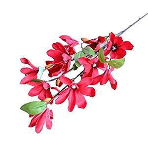 Aimili 11 Small Magnolia Flowers, High-End Artificial Flowers, High-End Silk Flowers, Suitable for Wedding, Holiday, Party Decoration, Valentine's Gift,Red