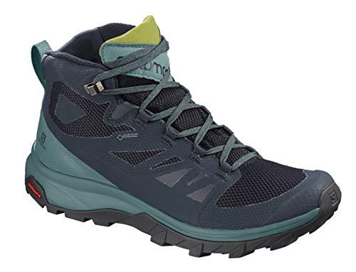 Salomon Women's Outline Mid GTX Hiking Boots, Navy Blazer/Hydro./Guacamole, 6