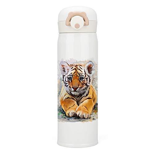 HAOXIANG Edelstahl Thermosflasche 500mL Trinkflasche Vakuum Isolierflasche,Aquarellmalerei-Kleiner Tiger Thermoskanne für Schule Büro Outdoor Camping Kinder Reisebeche