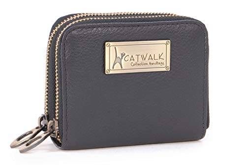 CATWALK COLLECTION HANDBAGS - ISLA - Ladies Small Organiser Zip Purse with Gift Box - Leather RFID Protection - Credit Card Wallet with Coin Compartment - Black