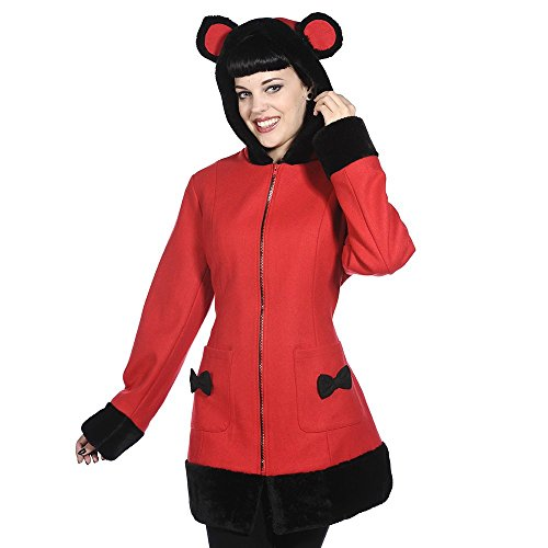 Banned Damen Mantel Übergangsmantel mit Kapuze - Mimi Coat Rot mit Ohren (L)