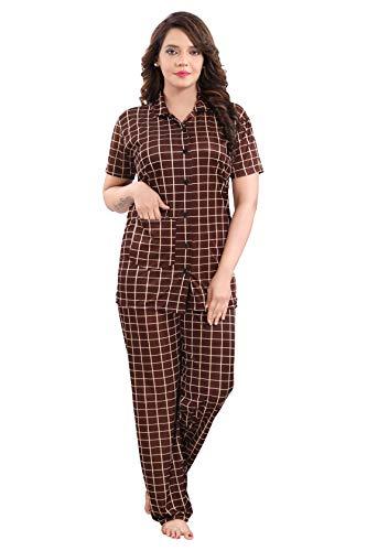 YKI Girl's / Women's Night Suit Pajama & Shirt Style / Nightwear (Brown-1768, Large)