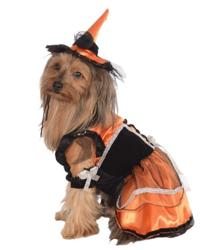 Rubies Pet Costume, Medium, Orange Witch Dress and Hat by Rubie'S