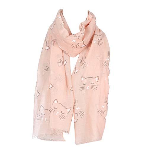 LEEleegang Bufanda delgada Volie para mujer, linda caricatura, diseño de gato de miow, para playa, protector solar para invierno, cálida bufandas