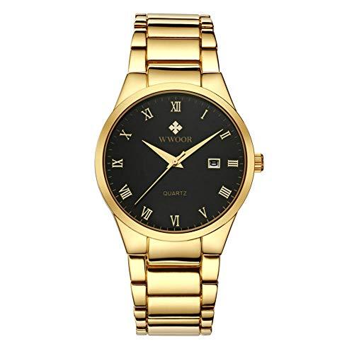 Reloj Casual de Moda para Hombres Reloj multifunción Impermeable Reloj de Pulsera de Cuarzo -A