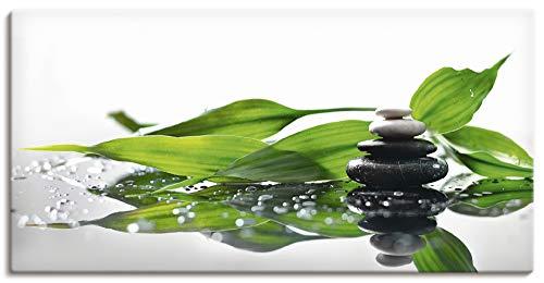 Artland Leinwandbilder Wandbild Bild auf Leinwand 60x30 cm Wellness Zen Stein Fotografie Grün Spa mit Steinen und Bambus S7LT