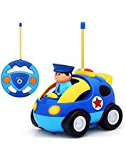 AM ANNA Remote Control Car, Cartoon RC Police Car Race Car with Lights and Music,Radio Control Toys for Kids (Blue)