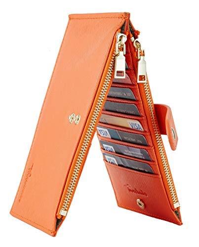 Travelambo Womens Walllet RFID Blocking Bifold Multi Card Case Wallet with Zipper Pocket Crosshatch (Orange)