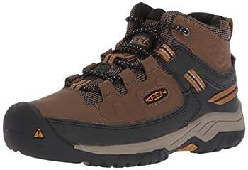 KEEN Big Kid s Targhee Mid Height Waterproof Hiking Boot Dark Earth/Golden Brown 4 BK  Big Kid s  US