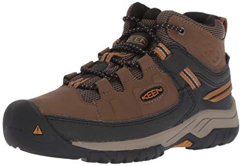 KEEN Big Kid's Targhee Mid Height Waterproof Hiking Boot, Dark Earth/Golden Brown, 6 BK (Big Kid's) US