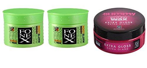 Fonex Matte Look Lot de 2 pots de cire coiffante extra brillante 100 ml