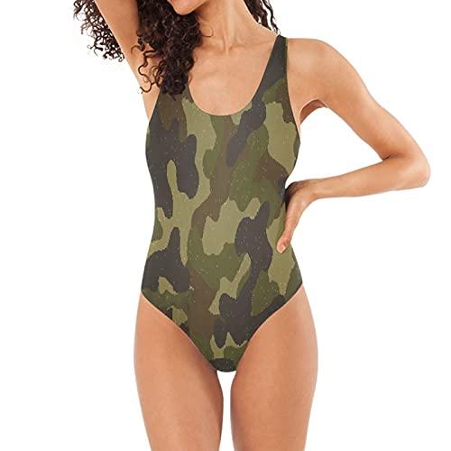 Verde Militar Bañadores de Mujer Traje de Una Pieza Bañador Ropa de Baño Monokini para Chica