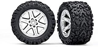 Traxxas 6774R 6774R - Tires & Wheels, Assembled, glued (2.8') (RXT Satin Chrome Wheels, Talon Extreme Tires, Foam Inserts) (2WD Electric Rear) (2) (TSM Rated)