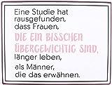 KMC Austria Design Cartel de chapa vintage Shabby Style como cuadro de pared, 35 x 26 cm, con texto impreso – tema de mujeres y sobrepeso – Un estudio ha rausfunden