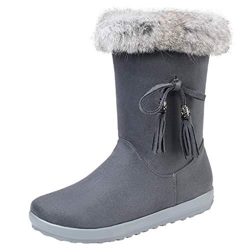 Yowablo Schneeschuhe Damen Mode Wildleder Plüsch Quaste Flacher Reißverschluss Mittlerer Stiefel Warm halten (40,Grau)
