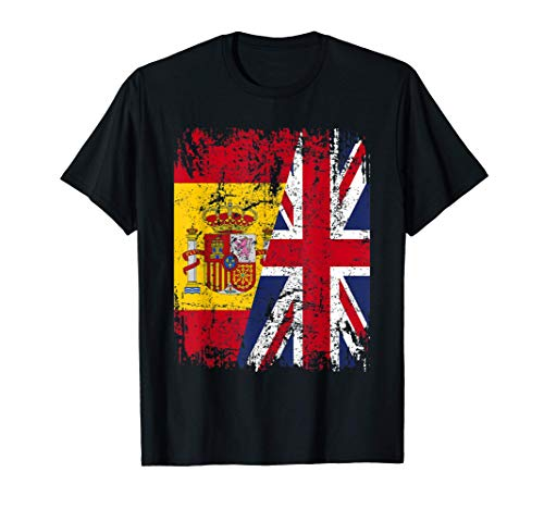 GRAN BRETANA Camiseta UK ESPAÑA BANDERA AMISTAD REINO UNIDO Camiseta