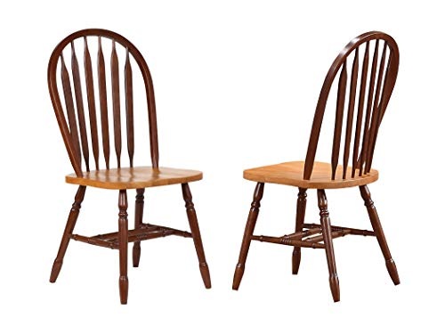 Sunset Trading Oak Selections Dining Chair, Medium Walnut with Light seat