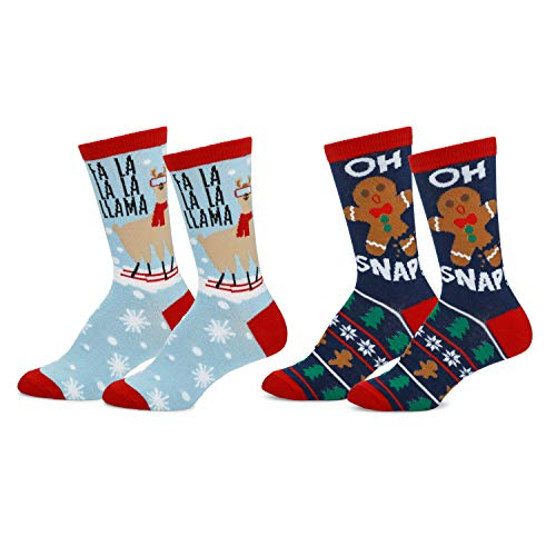 Mens & Womens Fun Novelty Holiday Christmas Hanukkah Crew Socks-2 Packs- 1 Size Fits Most (One Size Fits Most (Shoe-4-10), 2 Pair Crews Fa La LLama/Oh Snap)