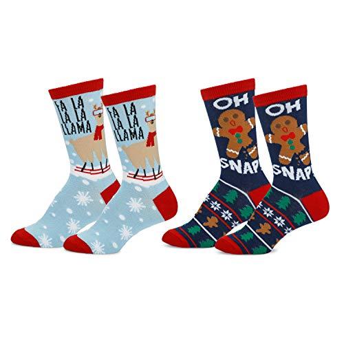 Mens & Womens Fun Novelty Holiday Christmas Hanukkah Crew Socks-2 Packs- 1 Size Fits Most (One Size Fits Most (Shoe-4-10), 2 Pair Crews Fa La LLama/Oh Snap)
