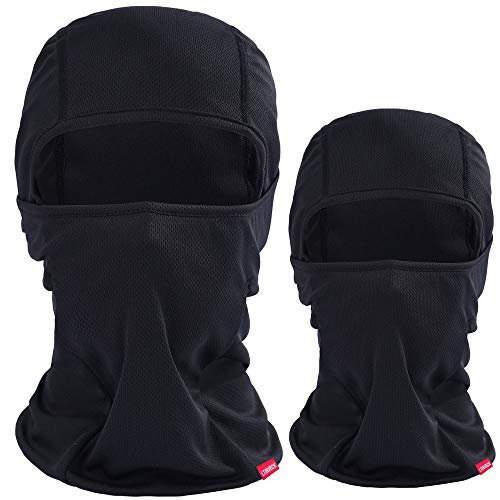 Balaclava Face Mask Men Summer, 2 Pack Black Lightweight Thin UV Protection Motorcycle Swat Mask Tactical Warmer Ski Mask for Women Balakava Hot or Cold Weather