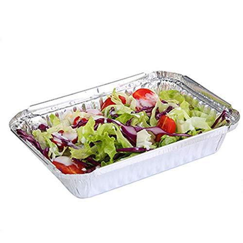 non 125 stks Aluminium folie bakken containers wegwerp folie brood pannen met kartonnen deksels 450ML voor Take-Out koken roosteren bakken