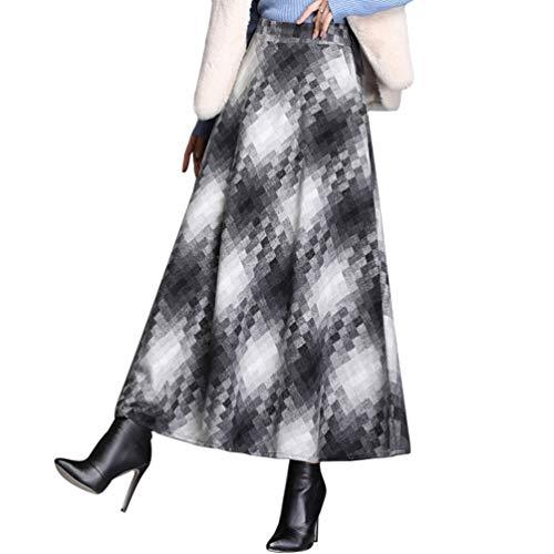 Byqny Mujer Tartan Falda Cuadros Faldas Largas Estampadas Invierno Elegantes Falda Larga Rayas Altas de Cintura Asimetrica Cuadros Talla Grande A-Line 2# Gris S