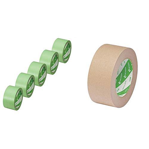 【セット買い】ニチバン 養生テープ フィルムクロステープ ライト 5巻 幅50mm×25m巻 18750-5P 緑 &  ラミオフ再生紙クラフトテープ 50mm×50m巻 3105-50 黄土
