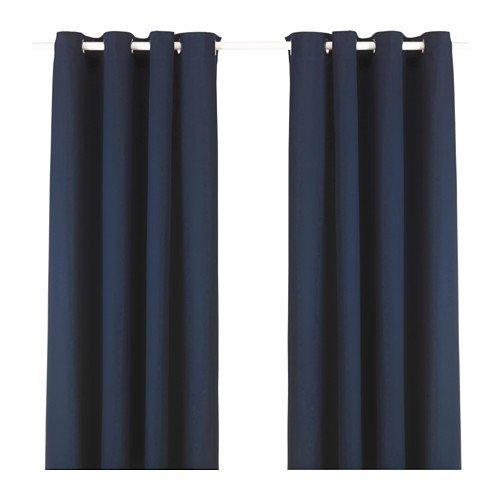 IKEA MERETE Gardinenpaar in blau; 100% Baumwolle; (145x250cm)