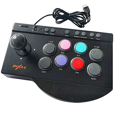PXN 0082 Arcade Fight Stick - 8Bitdo Fighting Joystick, PS4 Arcade Stick with Turbo & Macro Functions,Compatible with TV/PC/PS3/PS4/PS5/Xbox/Xbox Series X&S/Switch