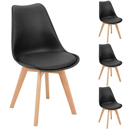 BlueOcean - Set di 4 sedie da pranzo in legno massiccio, gambe in stile retrò, design classico, in...