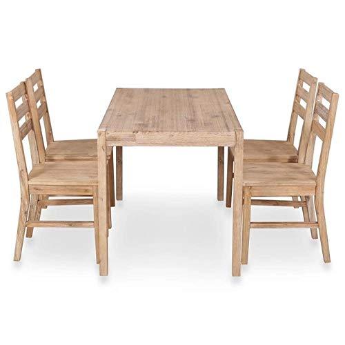 LGFSG Conjunto de Mesa Juego de Comedor de 5 Piezas Mesa de Comedor solida Juego de Mesa de Comedor Mesa de Cocina Muebles de Comedor, Buff, L