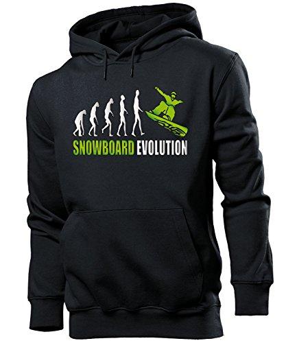 love-all-my-shirts Snowboard Evolution 2047 Wintersport Männer Herren Hoodie Pulli Kapuzen Pullover Kapuzenpullover Sportbekleidung Sport Schwarz Aufdruck Grün L