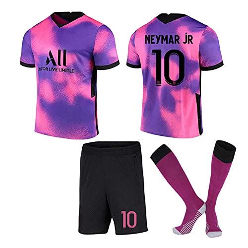 SXZJ Camiseta de fútbol Unisex para niños y Adultos, Camisetas de fútbol Jordan Point of View 7# Mbappé 10# Neymar, Morado 20-21 Camiseta + Pantalones Cortos + Calcetines