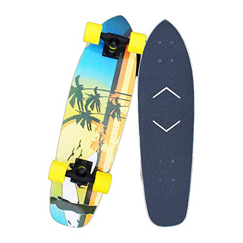 Hignful Skateboard Mini Cruiser Komplettboard Carver Surfskate Tanzbrett Brush Street Longboard Deluxe 8-Lagiges Kanadisches Ahorn-Skateboard Für Einsteiger ABEC-11 Kugellager