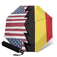 アメリカ合衆国とベルギーの旗 人気 おしゃれ 傘 レディ雨傘 折りたたみ傘 三つ折り傘 自動傘 自動開閉 ワンタッチ 遮光 遮熱 晴雨兼用 耐風撥水 男女兼用