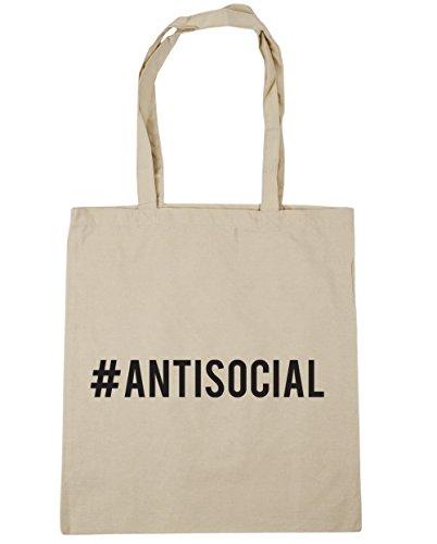 HippoWarehouse Hashtag Antisocial Tote Shopping Gym Beach Bag 42cm x38cm, 10 litres