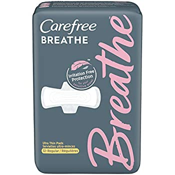 Carefree Breathe Ultra-Thin Regular Pads with Wings Irritation-Free Protection Unscented 32 Count