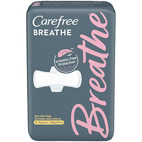 Carefree Breathe Ultra-Thin Regular Pads with Wings, Irritation-Free Protection, Unscented, 32 Count