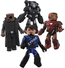 Iron Man 2 Movie Exclusive Minimates Mini Figure 4Pack Boxset Race Track Tony Stark, Nick Fury, Battle Damaged Mark VI Iron Man & Battle Damaged War Machine
