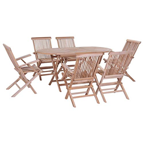 FAMIROSA 7 Piece Folding Outdoor Dining Set Solid Teak Wood-4659